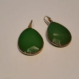 Stella & Dot Large Pear Shape Green Earrings